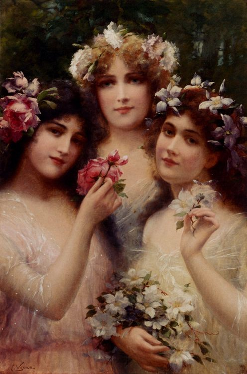 The Three Graces :: Emile Vernon - Young beauties portraits in art and painting ôîòî