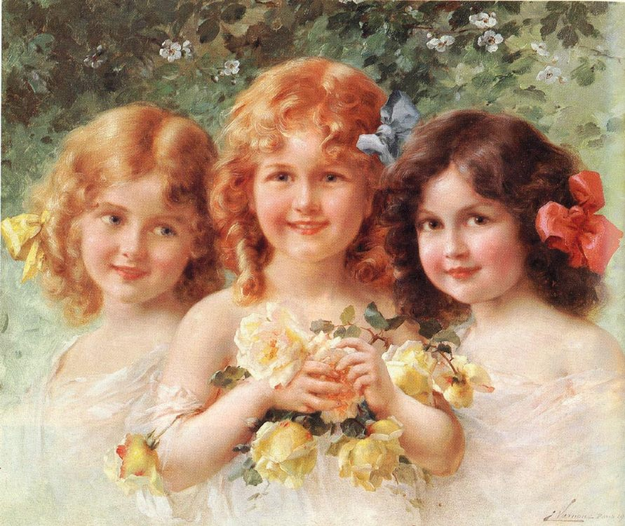 Three Sisters :: Emile Vernon - Portraits of young girls in art and painting фото