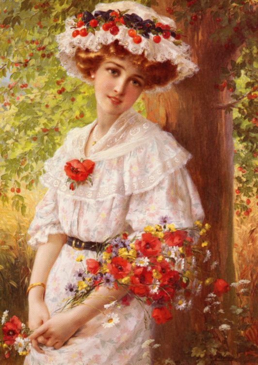 Under the Cherry Tree :: Emile Vernon - Young beauties portraits in art and painting ôîòî
