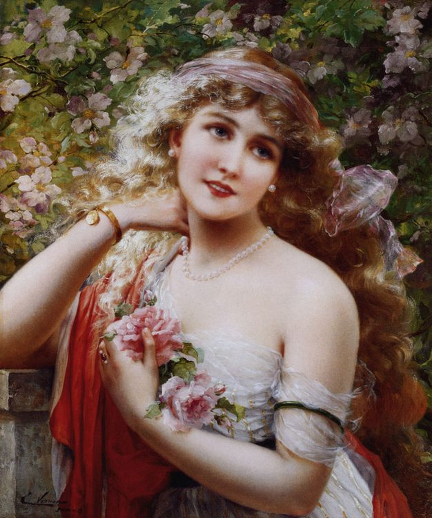 Young Lady With Roses :: Emile Vernon - Young beauties portraits in art and painting ôîòî