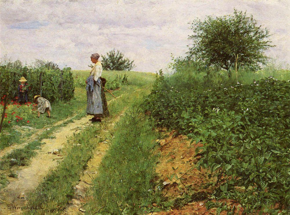 Picking Flowers :: Erik Theodor Werenskiold - Summer landscapes and gardens фото