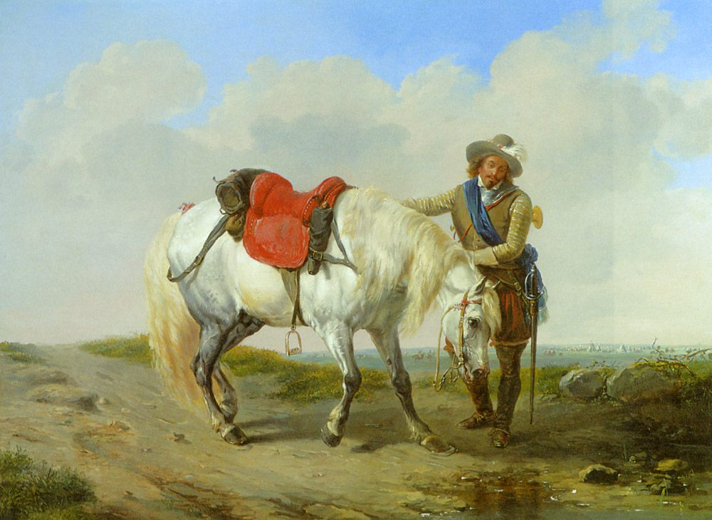 A Cavalier Watering his Mount :: Eugene Verboeckhoven - Horses in art фото