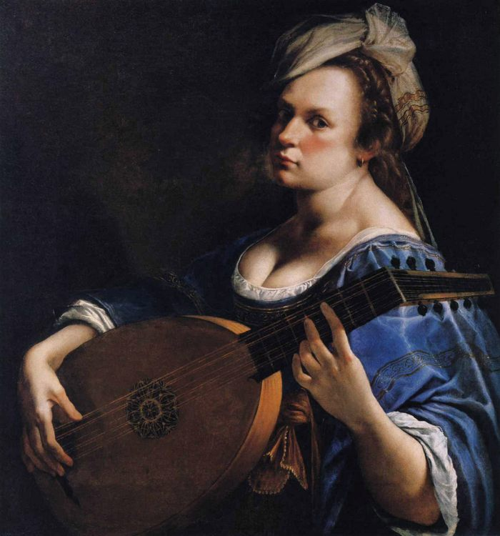 Self-Portrait as a Lute Player :: Artemisia Gentileschi - 3 women portraits 17th century hall ôîòî