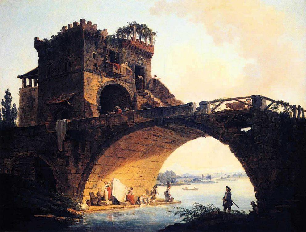 The Old Bridge :: Hubert Robert  - Ruins фото