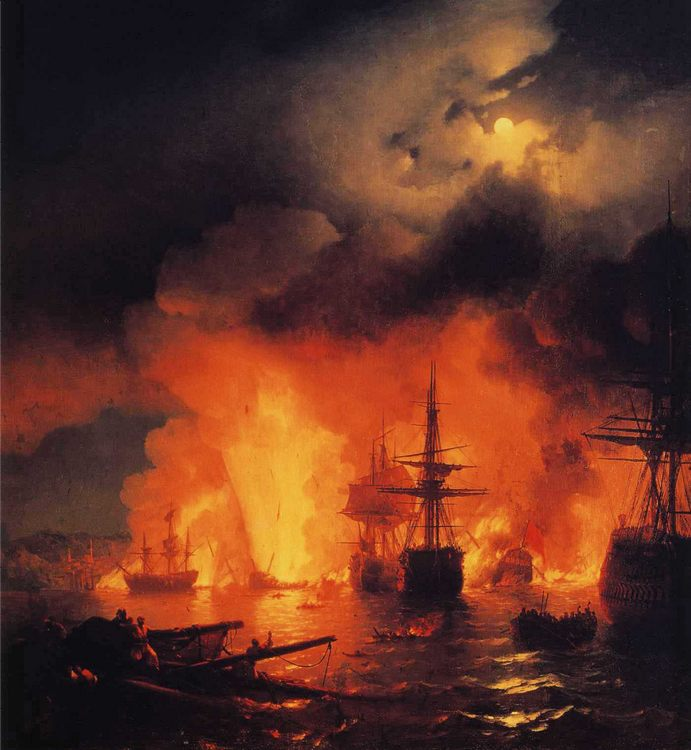 Battle of Cesme at Night :: Ivan Constantinovich Aivazovsky - Sea landscapes with ships фото