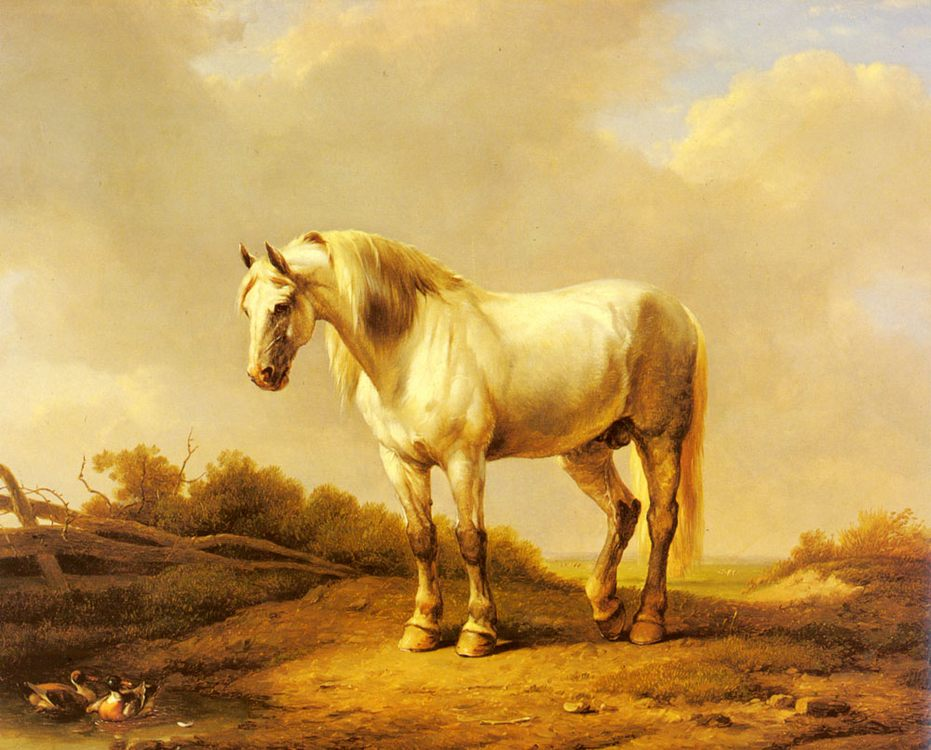 A White Stallion In A Landscape :: Eugene Verboeckhoven - Horses in art фото