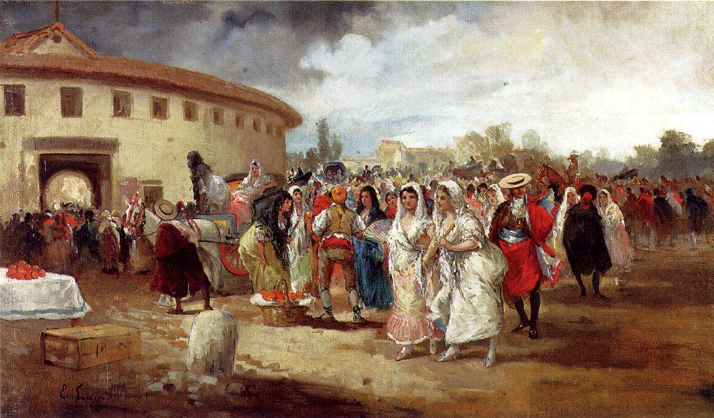 A Rainy Day On The Plaza deToros :: Eugenio Lucas Villamil - Street and market genre scenes ôîòî