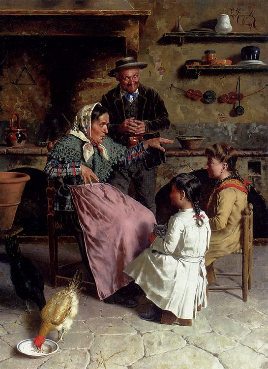 A Captive Audience :: Eugenio Zampighi - Woman and child in painting and art ôîòî