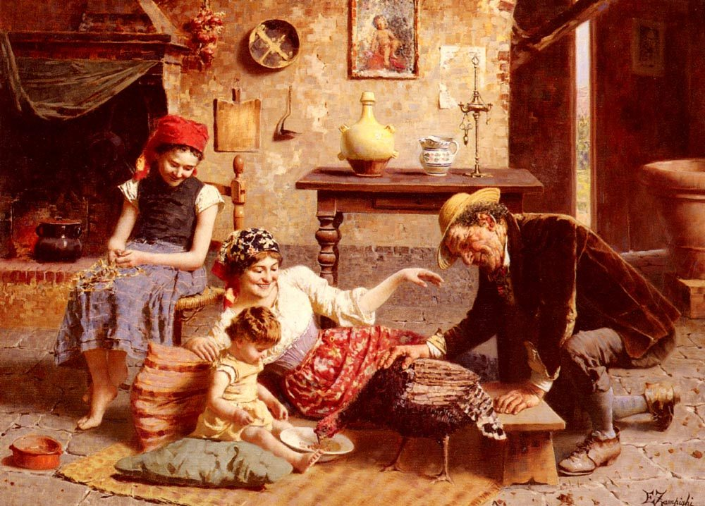 A Happy Family :: Eugenio Zampighi - Woman and child in painting and art фото