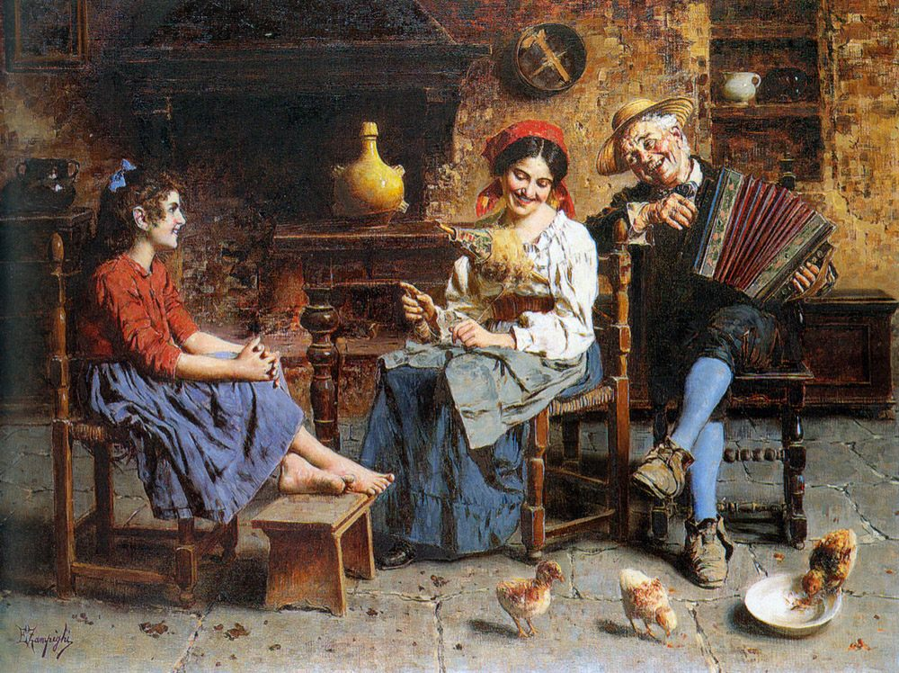 A Happy Tune :: Eugenio Zampighi  - Interiors in art and painting фото