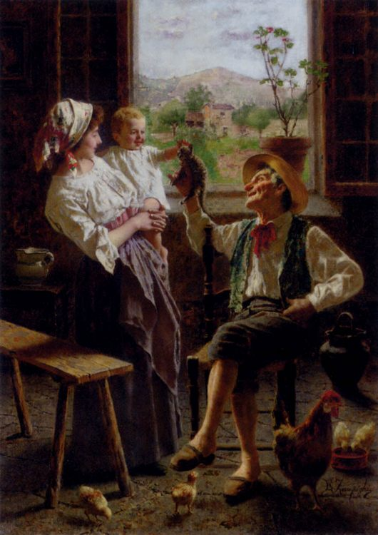 A New Friend :: Eugenio Zampighi - Woman and child in painting and art фото