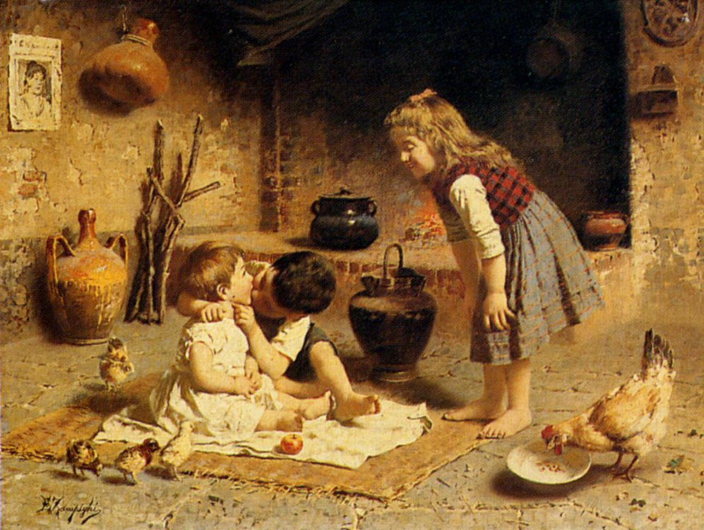 Affection :: Eugenio Zampighi  - Children's portrait in art and painting фото