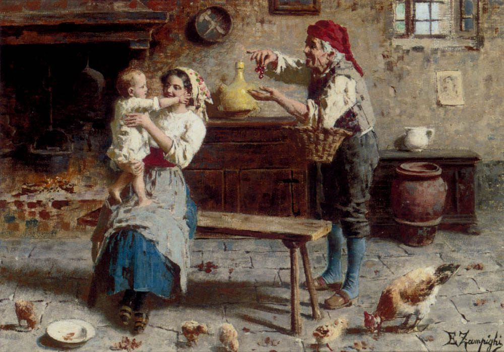 Cherries For Baby :: Eugenio Zampighi - Woman and child in painting and art фото