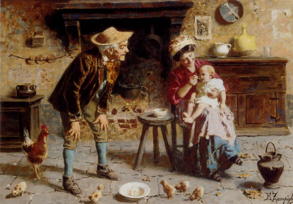 Grandfather's Pet :: Eugenio Zampighi - Woman and child in painting and art ôîòî