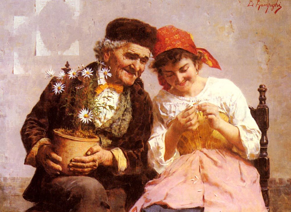 He Loves Me, He Loves Me Not :: Eugenio Zampighi - Romantic scenes in art and painting фото