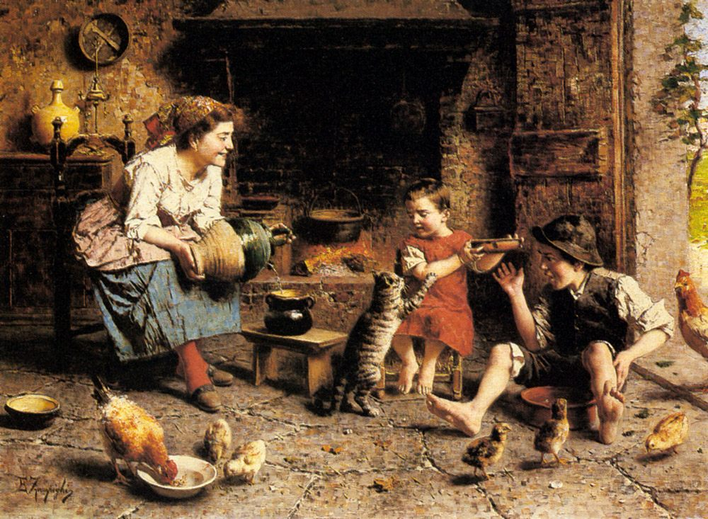 Mealtime :: Eugenio Zampighi - Woman and child in painting and art фото