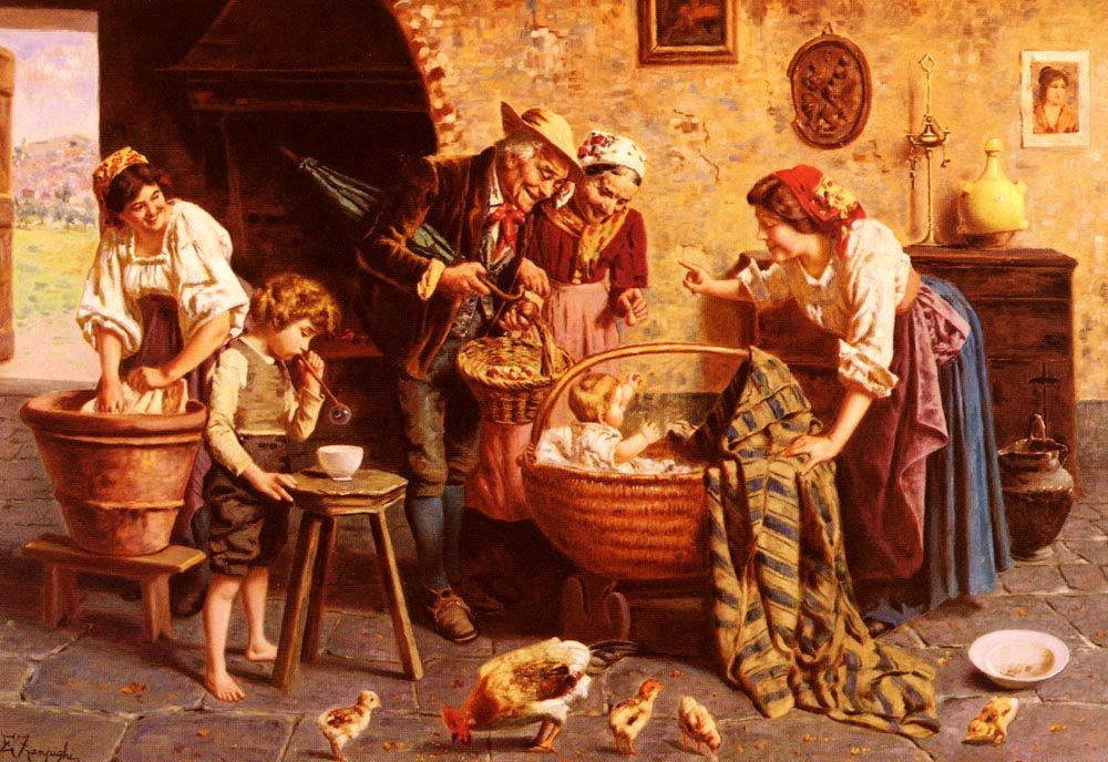 The Family Gathering :: Eugenio Zampighi - Woman and child in painting and art фото