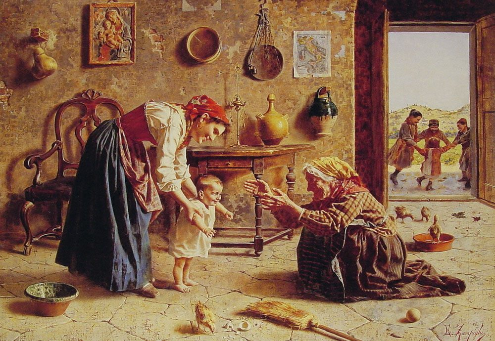 The first step :: Eugenio Zampighi - Woman and child in painting and art фото