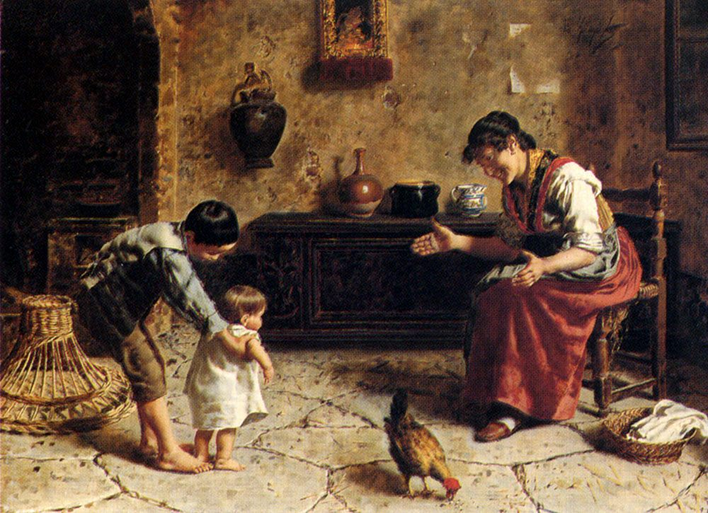 The First Steps :: Eugenio Zampighi - Woman and child in painting and art ôîòî
