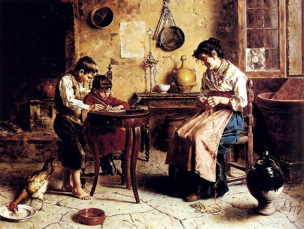 The Writing Lesson :: Eugenio Zampighi - Woman and child in painting and art фото