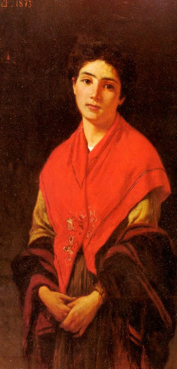 Woman In Red :: Federigo Zandomeneghi - 6 woman's portraits hall ( The middle of 19 centuries ) in art and painting фото