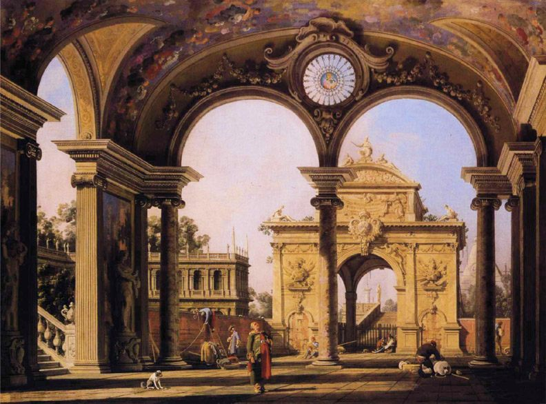 Capriccio of a Renaissance Triumphal Arch seen from the Portico of a Palace :: Canaletto  - Architecture фото