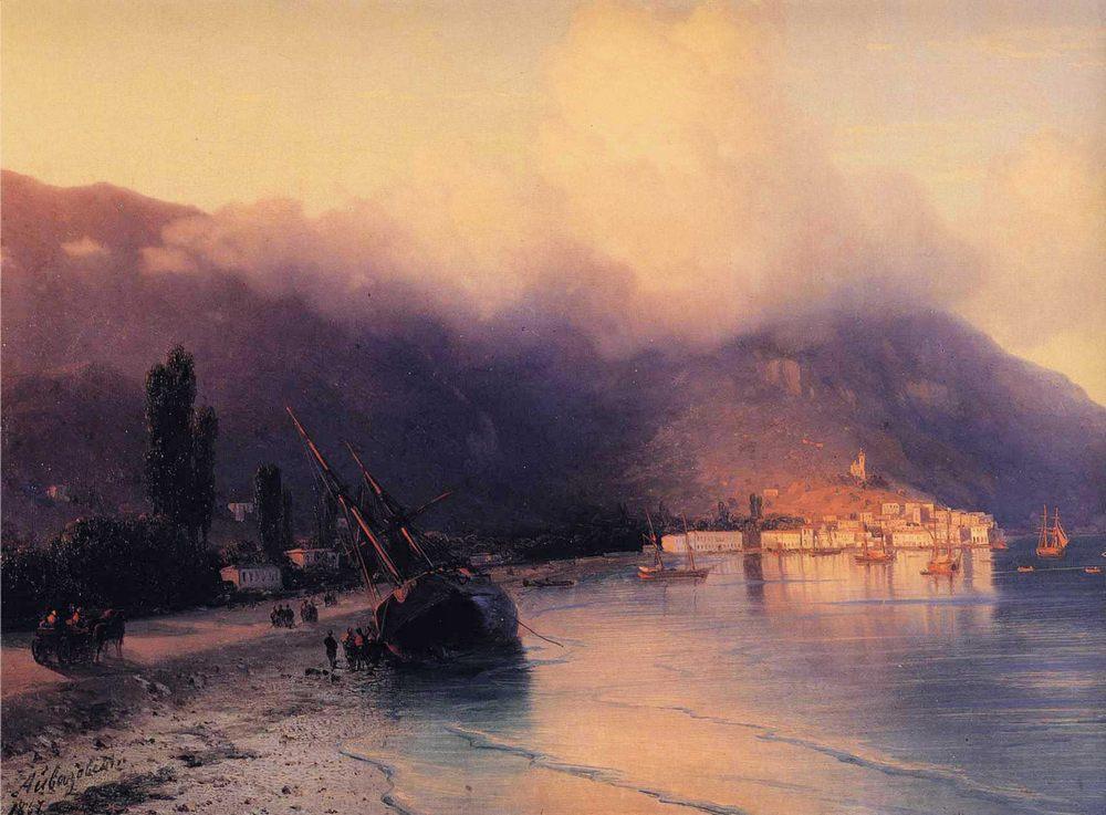 View of Yalta - detail :: Ivan Constantinovich Aivazovsky  - Coastal landscapes ôîòî