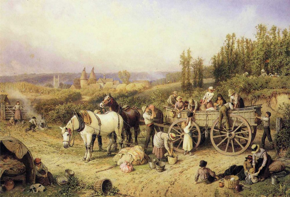 The Farm Cart :: Myles Birket Foster, R.W.S.  - Village life ôîòî