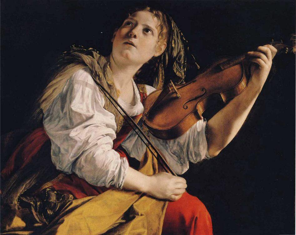 Young Woman Playing a Violin :: Orazio Gentleschi  - 3 women portraits 17th century hall ôîòî