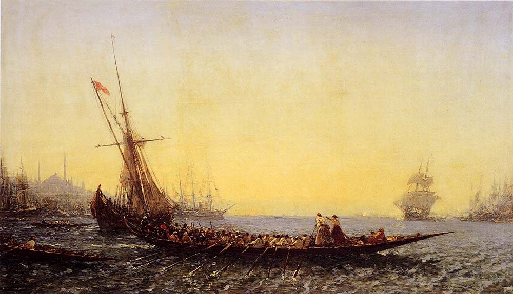 Harbour In Constantinople :: Felix Ziem - Seascape with ships фото