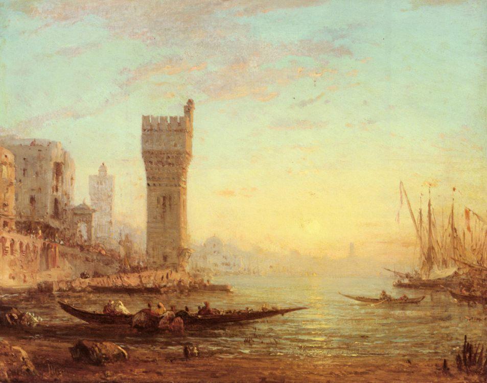 An Oriental Harbour :: Felix Ziem  - Coastal landscapes фото