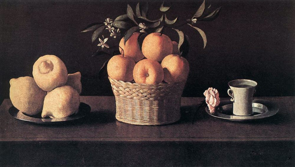 Still life with Oranges, Lemons and Rose :: Francisco de Zurbaran - Still-lives with fruit фото