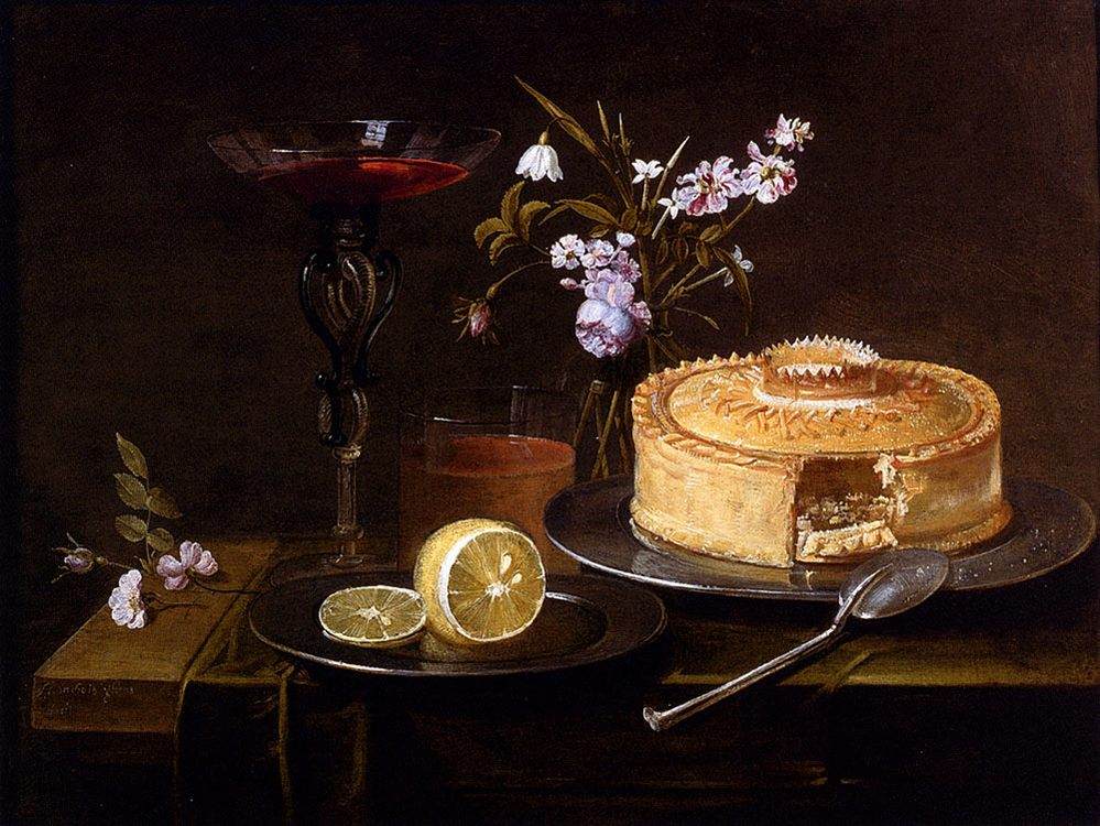 A Still Life Of A Pie And Sliced Lemon On Pewter Dishes, A Vase Of Flowers, A Glass Of Beer :: Frans Ykens  -  фото