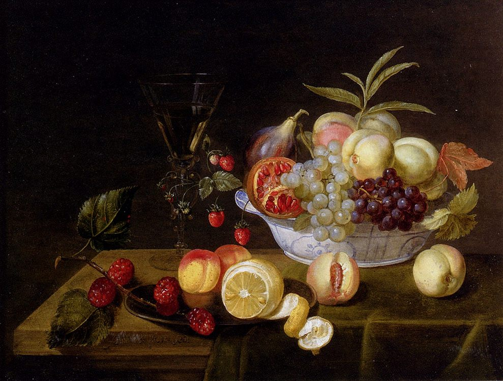 A Still Life Of Peaches, Grapes, Pomegranates, Figs And Wild Strawberries In A Wan-Li Porcelain Bowl All Resting On A Tabletop : - Still-lives with fruit фото