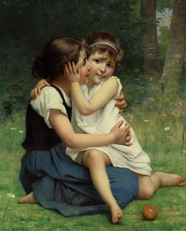 Sisterly Love :: Francois Alfred Delobbe - Portraits of young girls in art and painting фото