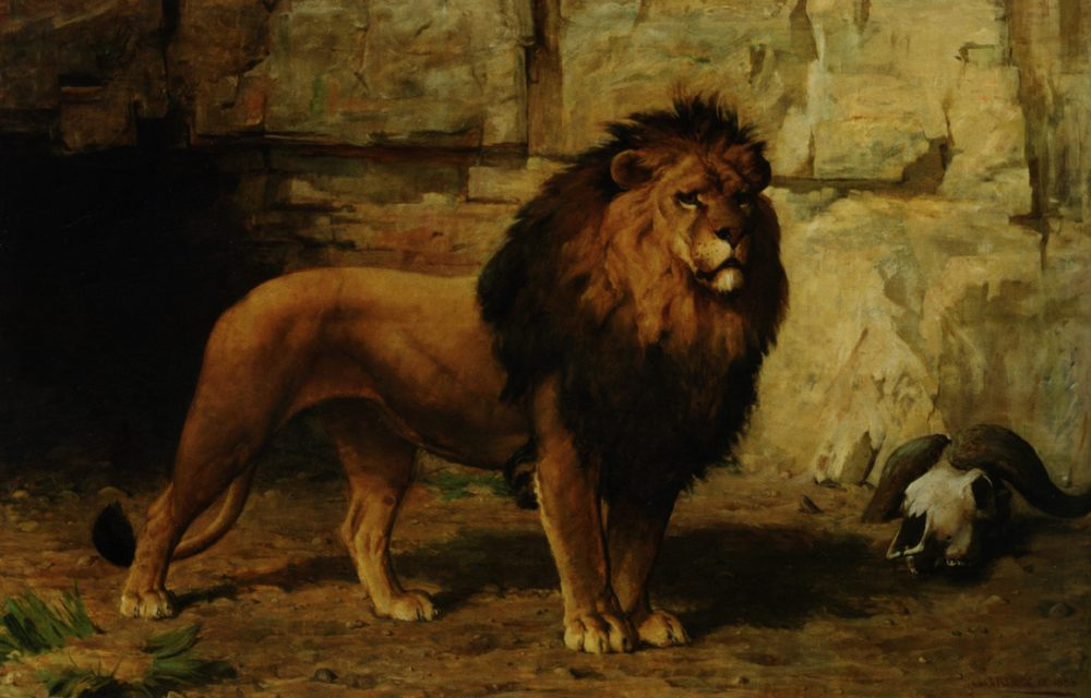 Lion Guarding His Den :: George Goodwin Kilburne - Animals фото