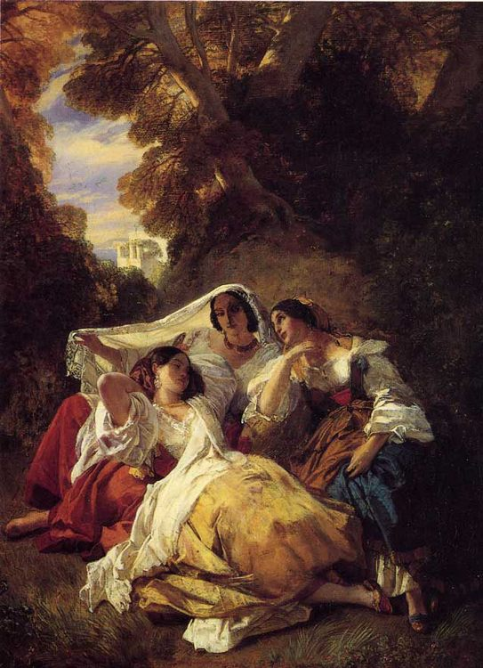 La Siesta :: Franz Xavier Winterhalter - Young beauties portraits in art and painting фото