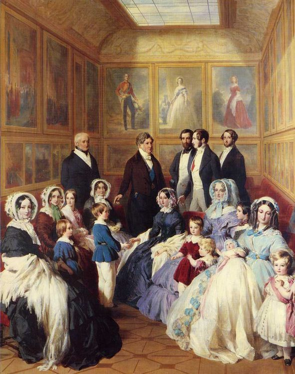 Queen Victoria and Prince Albert with the Family of King Louis Philippe at the Chateau D'Eu :: Franz Xavier Winterhalter - Family Portrait фото