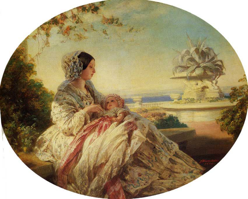 Queen Victoria with Prince Arthur :: Franz Xavier Winterhalter - 6 woman's portraits hall ( The middle of 19 centuries ) in art and painting фото