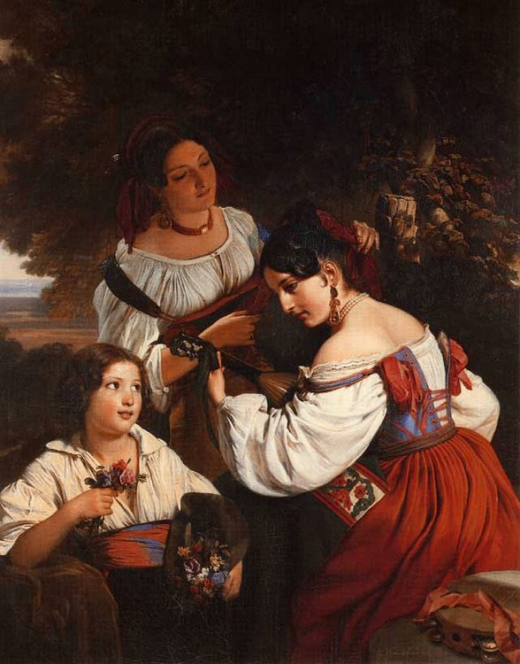 Roman Genre Scene :: Franz Xavier Winterhalter - Young beauties portraits in art and painting ôîòî