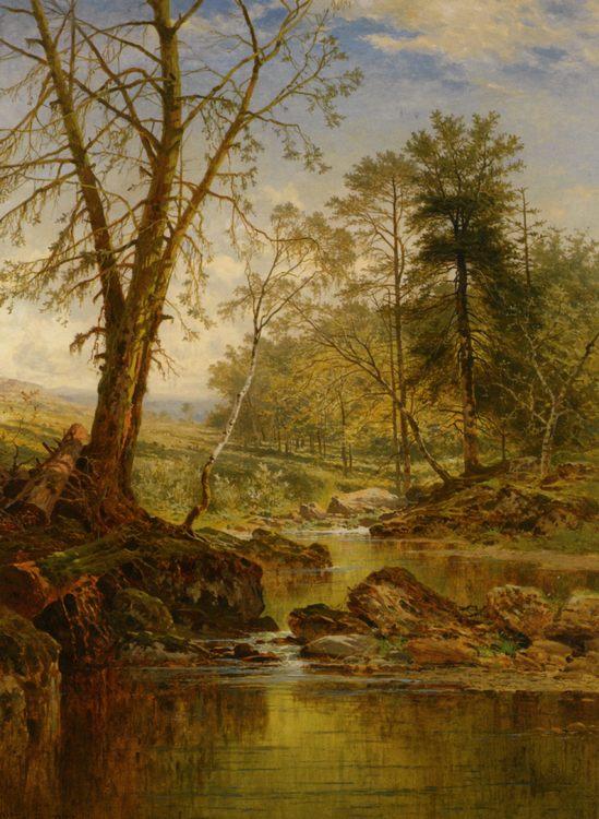 A Sunny Stream :: Benjamin Williams Leader - Forest landscapes ôîòî
