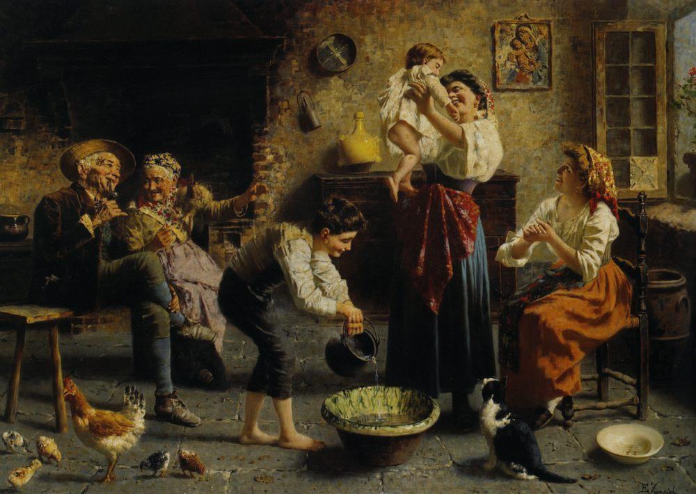 Bath Time :: Eugenio Zampighi - Woman and child in painting and art ôîòî