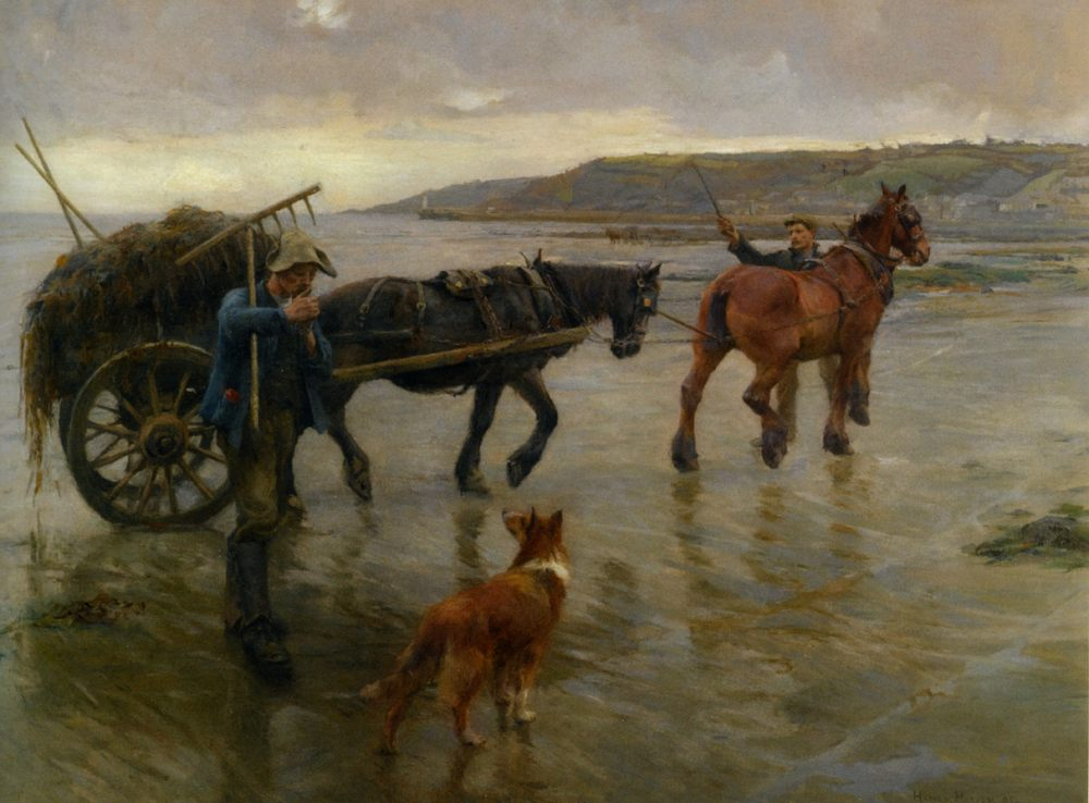 Seaweed Gatherers :: Harold Harvey - Horses in art фото