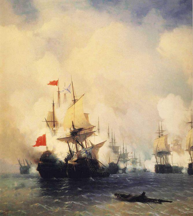 Naval Battle at Chios :: Naval Battle at Chios  - Sea landscapes with ships ôîòî