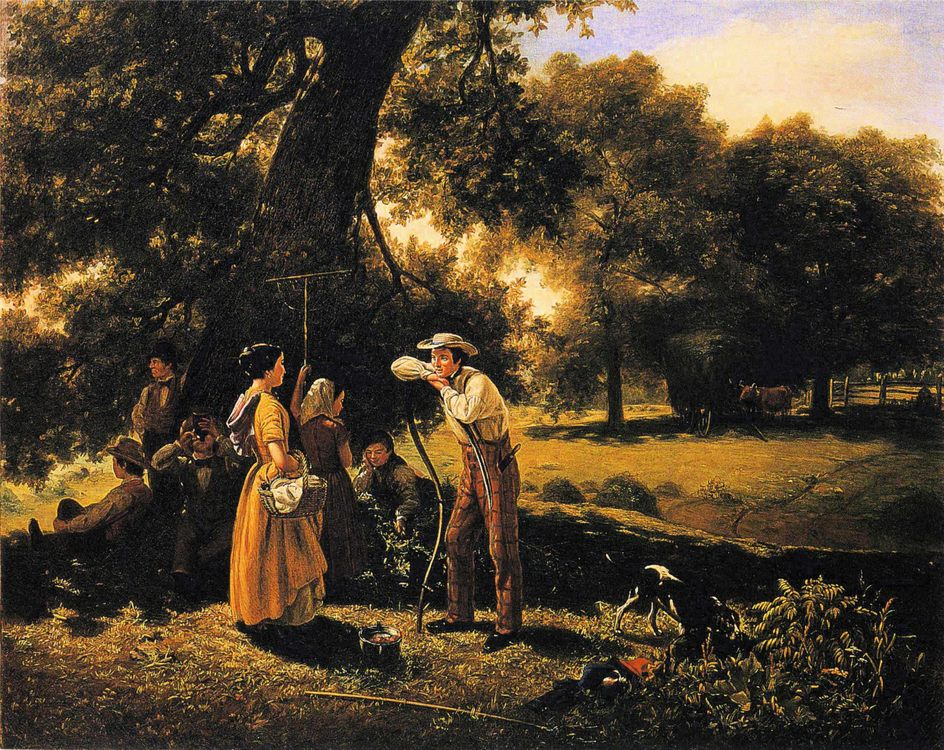 Noonday in the Summer :: Jerome B. Thompson - Romantic scenes in art and painting фото