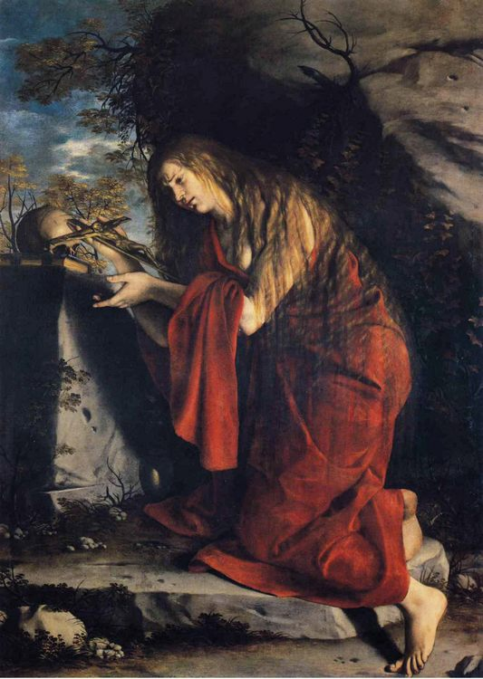 Saint Mary Magdalen in Penitence :: Orazio Gentleschi - Bible scenes in art and painting фото