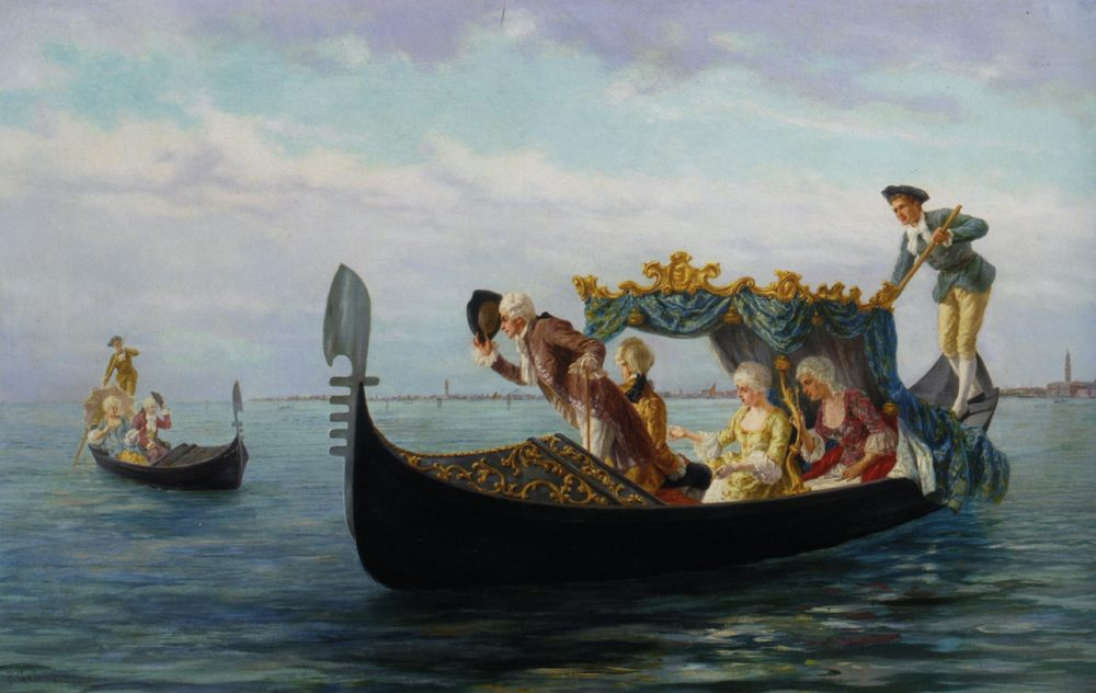 Elegant Couples in a Gondola :: Pietro Gabrini  - Romantic scenes in art and painting фото