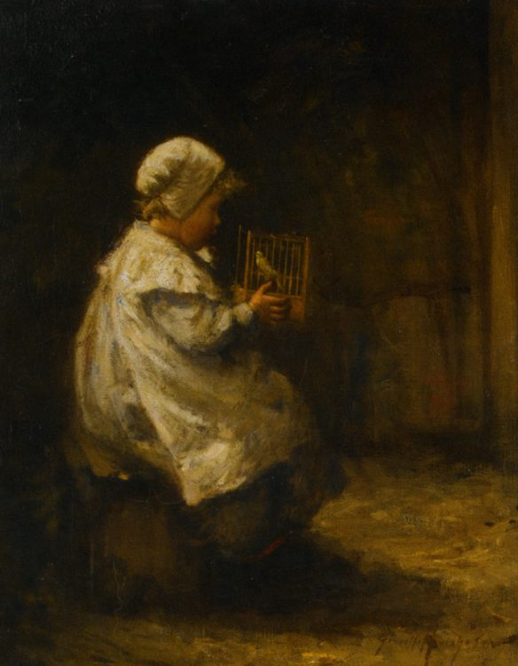 Pet Canary :: Robert Gemmell Hutchison  - Portraits of young girls in art and painting фото
