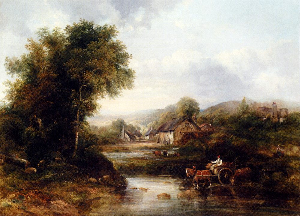An Extensive River Landscape With A Drover In A Cart With His Cattle :: Frederick Waters Watts  - River landscapes ôîòî