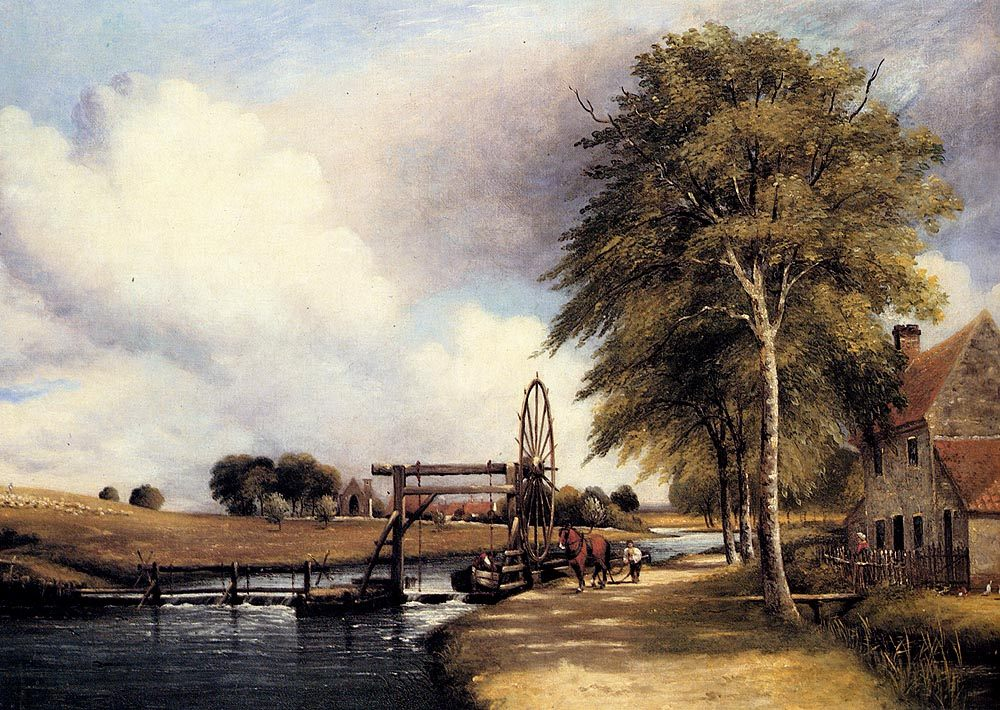 The Lock At Stanton On The Little Ouse In Norfolk :: Frederick William Watts - River landscapes фото